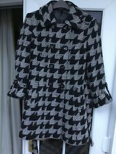 Marks & Spencer Black & White Wool Blend Double Breasted Belted Coat size 8