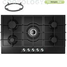 90cm Built-in 5 Burner Gas on Glass Hob Cookology GGH905BK | Black & Wok Stand