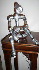 Industrial Steampunk Robot Pipe Man Desk Lamp Light Man Cave Galvanized 2 Poses