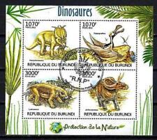 Animaux Préhistoriques Burundi (37) série complète 4 timbres oblitérés
