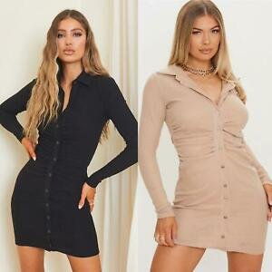 Women Ladies Brushed Ribbed Long Sleeve Ruched Shirt Midi Dress Bodycon Dresses