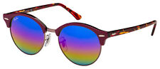 Ray-Ban Clubround Sunglasses RB 4246 1222C2 51 Bordeaux | Blue Rainbow Flash Len