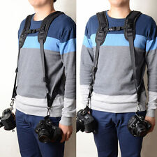 Brand New Double Dual Shoulder Belt Harness Holder For DSLR Camera Canon Sony UK