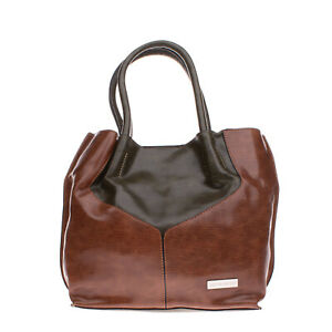 PIERRE CARDIN Tote Bag PVC Leather Grainy Panel Two Tone Removable Pouch
