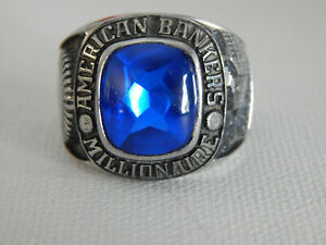 Silver Tone Blue Stone American Bankers Millionaire Ring Sz 10.25