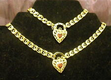 New 9K Gold Filled Ruby Crystal Filigree Heart Necklace Swirl Chain Bracelet Set