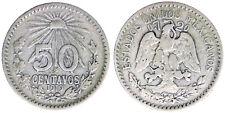 50 Centavos 1919 Messico Mexico Scritta sul Bordo Argento Silver #2574