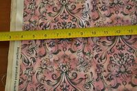 "By-the-Half-Yard, 43"" Wide, Black Floral on Pink Quality/Quilters Cotton, M4283"