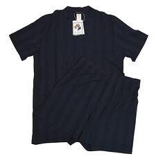 HANRO Pyjama Pajamas Gr M Kurzhosen Oberteil Marineblau Navy Shorts T-Shirt Port
