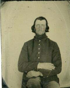 Original Civil War 1/6 Tintype of Union Soldier, Photographers Notes On Back