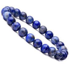 Natural 8mm Lapis Lazuli Beads Bracelets Unisex Elastic Bangle Jewelry Gif x*S*