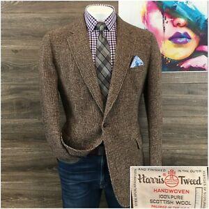 Vintage Harris Tweed Mens Sport Coat Blazer Wool Sport Jacket Size 44L 2 Button