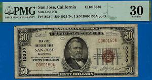 Top Pop 1/0 - San Jose, California - 1929 $50 National (( CH #13338 )) PMG VF-30