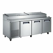 Adcraft Uspz 3d 92 Three Section Refrigerated Pizza Prep Table 240 Cu Ft