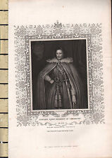 c1840 ANTIQUE PRINT ~ EDWARD LORD HERBERT OF CHERBURY