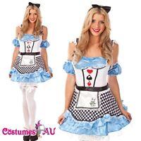 Ladies Alice In Wonderland Fancy Dress Halloween Outfit Disney Theme Costume