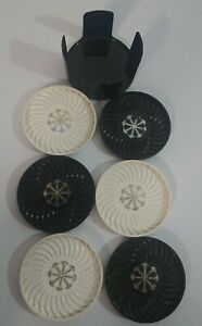 Vintage Ritepoint Black & White Coaster Set with Plastic Holder Chess Colors