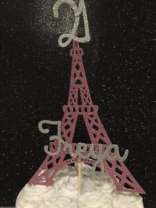 Personalised Eiffel Tower birthday cake topper pink age name Paris Las Vegas