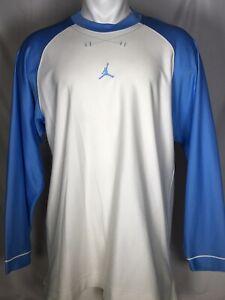 Air Jordan Jumpman Logo Longsleeve Shooting Shirt White Blue Men's XXL