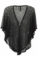 Ex Warehouse Black Sheer Star Embellished Tie Shrug Shawl Top Size S/M M/L
