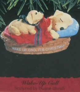 "Hallmark Dog Lover Ornament: ""WAKE UP CALL"" Golden Lab, Father (Dad) & Puppy MIB"