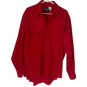 Wrangler Mens Dress Western Shirt Red 100% Cotton Flap Pockets Button 17 x 35