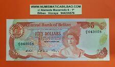 BELIZE 5 DOLLARS 1 JANUARY 1989 UNC PIck 47 QUEEN BIRD CARIBBEAN UK BANK NOTE