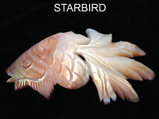 PINK CARVED FISH  MOTHER OF PEARL CLAM SEA SHELL HAIR BARRETTE 80's VINTAGE