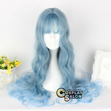 """Lolita 26"""" Blue Ombre Long Curly Bang Women Fashion Party Cosplay Wig+Cap"""