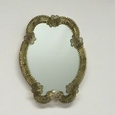 LA2/25 * Beautiful Murano Art Glass Mirror * Gold & Clear Glass * Vintage Italy