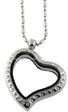 Heart Shape CZ Silver Tone Floating Charm Glass Memory Locket Necklace & Chain