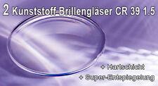 2 Brillengläser Kunststoff Index 1,50 Hartschicht + Super-Entspiegelung | NEU