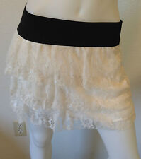 NEW WHITE FLORAL LACE LAYERED BLACK BANDED ELASTIC RETRO BOHO LOLITA SKIRT M