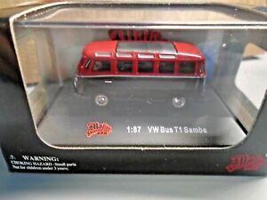 MALIBU INTERNATIONAL 1:87 MINI DIE CAST VW VOLKSWAGEN BUS T1 SAMBA 26 WINDOW RED