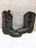 Tony Lama Americana Black Leather Round Toe Pull On Cowboy Boots Mens Size 11 D