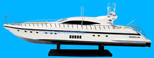 "Mangusta 108 Yacht White Hull 35"" - Handmade Wooden Model Boat NEW"