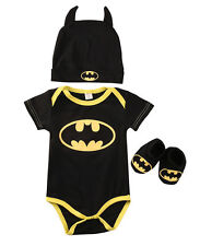 UK Cute Batman Newborn Baby Boys Infant Romper+Shoe+Hat 3Pcs Outfit Clothes Set