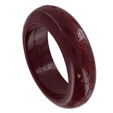 Oscar de la Renta Designer Burgundy Bangle Bracelet Engraved Quote Script Signed