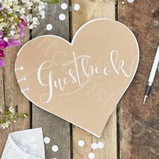 Rustic Country Heart Kraft Guest Book Wedding Party Favours Supplies - 32 Pages