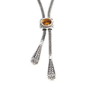 "Bali Designs Lariat 30"" Citrine Necklace Sterling Silver & 18K Gold HSN $240.00"