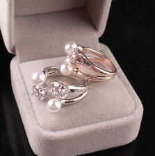 1PC Charm Women Crystal Opening Pearl Adjustable Zircon Ring Jwelry Gift