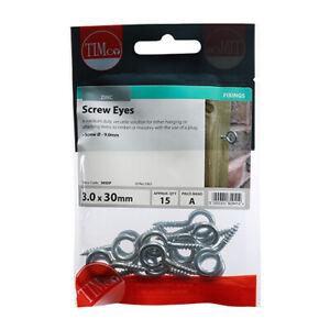 TIMco Screw Eyes BZP 6g x 30mm Bag of 15   30SEP