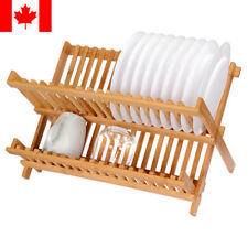 Bamboo dishes plate rack Collapsible Compact Cups dish drying rack dish drainer