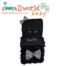 Personalised Boys Girls Black Fur Footmuff Cosytoes (NEXT DAY DISPATCH)