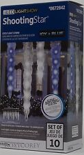 Gemmy LED LightShow 10 Shooting Star Icy Blue Icicle Lights String NIB