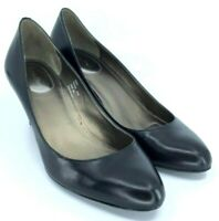 Calvin Klein Paxter Pump Women's 8.5 M Black Leather Round Toe Slip On Heel Shoe