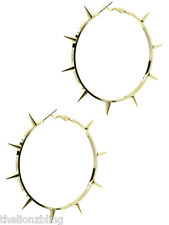 "Gothic Punk Rock Bling Gold Spikes Hoop Earrings - 3"" Hoops"