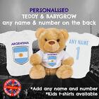 Argentina Football Babygrow & Teddy Bear Personalised Matching Gift Set, Soccer