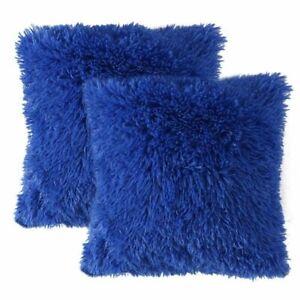 2*Fluffy Faux Fur Plush Throw Pillow Cases Shaggy Soft Chair Sofa Cushion Cover