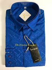 Billionaire Couture Mens Shirt Royal Blue Polyester Silk Like Size M/40